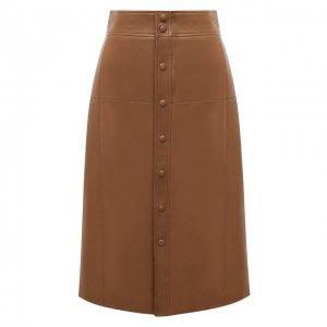 Кожаная юбка Saint Laurent. Цвет: коричневый