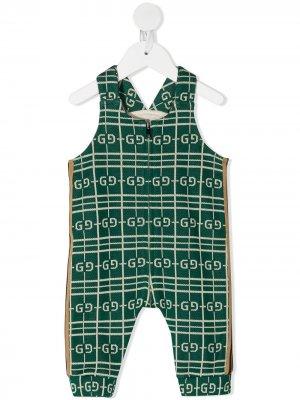 Ромпер без рукавов с узором GG Gucci Kids. Цвет: зеленый