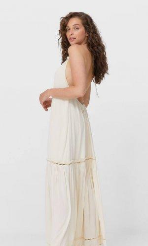 Длинное Платье С Открытой Спиной Ванильный Xl Stradivarius. Цвет: ванильный
