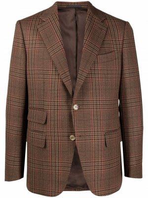 Клетчатый пиджак Caruso. Цвет: коричневый
