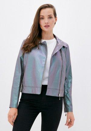 Куртка кожаная Perspective. Цвет: зеленый