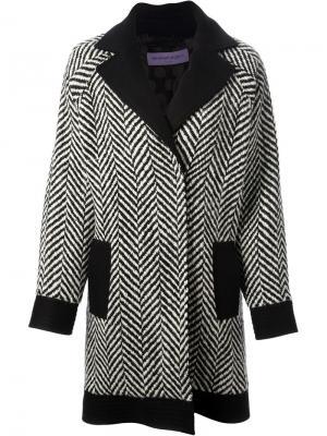 Свободное пальто в елочку Emanuel Ungaro. Цвет: чёрный