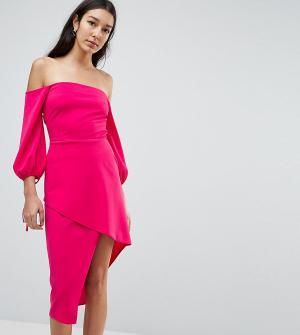 Платье миди с открытыми плечами и запахом на юбке ASOS TALL-Розовый Tall