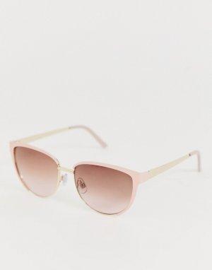 Круглые розовые солнцезащитные очки AJ Morgan. Цвет: розовый