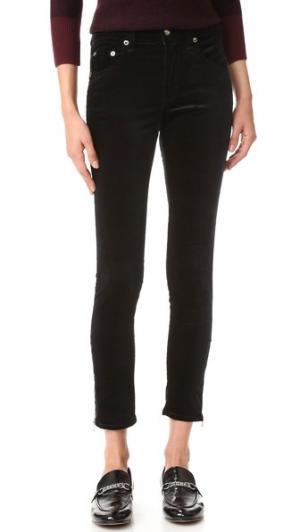 Бархатные джинсы-капри 10 Inch с молнией Rag & Bone/JEAN. Цвет: голубой