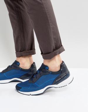 Темно-синие кроссовки BOSS. Цвет: синий