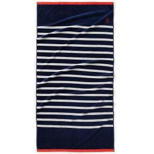 Полотенце пляжное MARINIERE LA REDOUTE INTERIEURS. Цвет: серый/ белый,синий/ белый