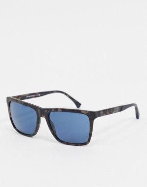 Солнцезащитные очки с голубыми линзами в квадратной оправе под черепаху -Коричневый Emporio Armani