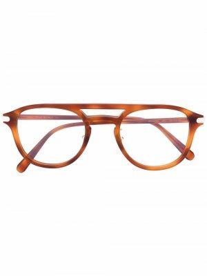 Солнцезащитные очки-авиаторы черепаховой расцветки Brioni. Цвет: коричневый
