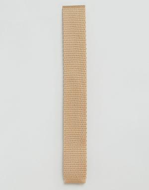 Светло-коричневый вязаный галстук Gianni Feraud. Цвет: рыжий