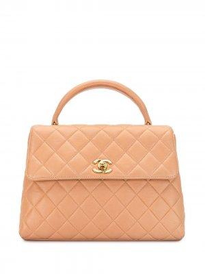 Стеганая сумка-тоут 1997-го года с клапаном Chanel Pre-Owned. Цвет: коричневый