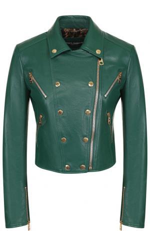 Кожаная куртка на молнии Dolce & Gabbana. Цвет: зелёный