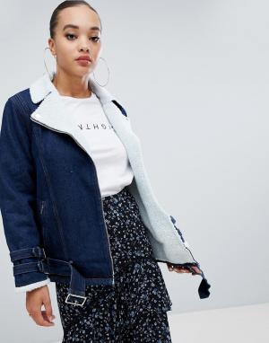 Джинсовая куртка с подкладкой из искусственного меха -Синий Missguided