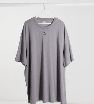 Выбеленное серое платье-футболка Plus эксклюзивно для ASOS-Фиолетовый Puma