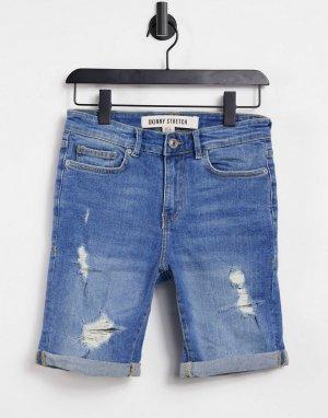 Голубые рваные джинсовые шорты облегающего кроя -Голубой New Look