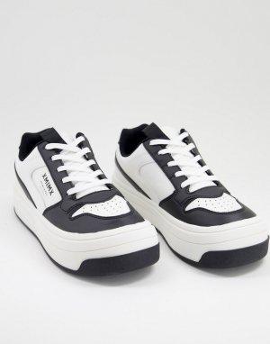 Белые и черные кроссовки на толстой подошве -Черный цвет ASOS DESIGN