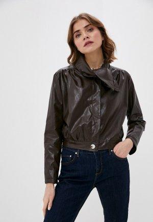Куртка кожаная Elsi. Цвет: коричневый
