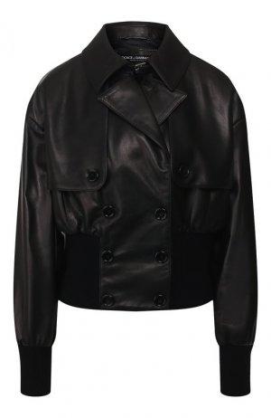 Кожаный бомбер Dolce & Gabbana. Цвет: чёрный