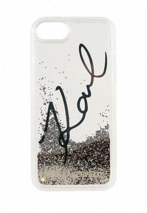 Чехол для iPhone Karl Lagerfeld 8 / SE 2020, Liquid glitter signature Transp/Gold. Цвет: прозрачный