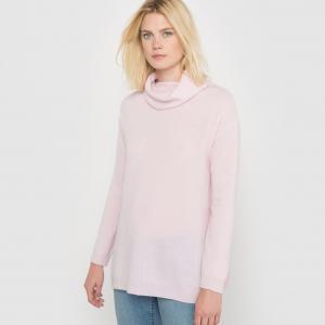 Пуловер из кашемира, воротник-хомут, свободный покрой La Redoute Collections. Цвет: светло-розовый,светло-серый меланж,черный