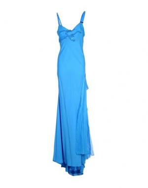 Длинное платье ANGELO MOZZILLO. Цвет: лазурный