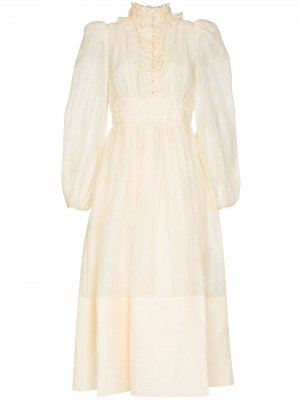 Платье миди Botanica с оборками Zimmermann. Цвет: нейтральные цвета