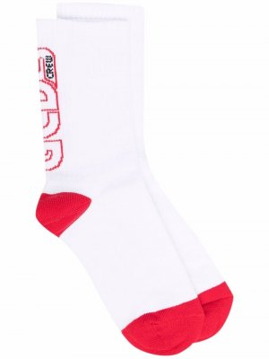 Intarsia-knit logo socks Gcds. Цвет: белый