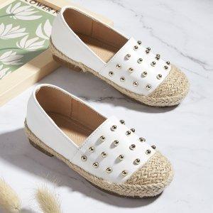Для девочек Обувь с бусинами без шнурков SHEIN. Цвет: белый