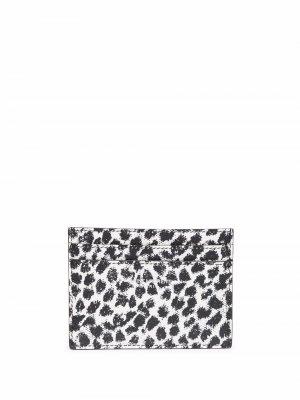 Картхолдер с леопардовым принтом Saint Laurent. Цвет: черный