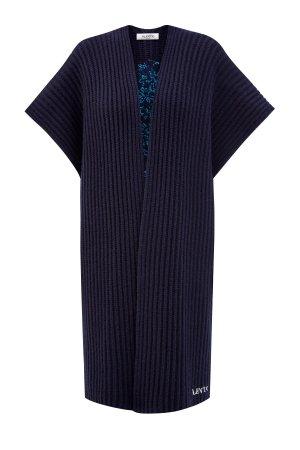 Пончо из шерсти и кашемира с вышивкой Bluegrace VALENTINO. Цвет: синий