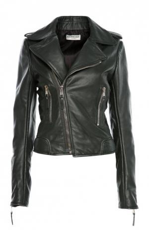 Куртка кожаная Balenciaga. Цвет: зеленый