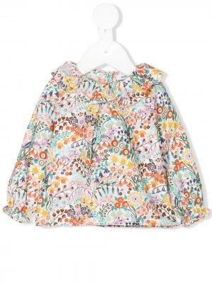 Блузка с цветочным узором в стиле ренессанс Knot. Цвет: разноцветный