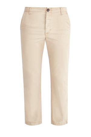 Укороченные брюки-чинос с аппликацией на спинке GUCCI. Цвет: бежевый