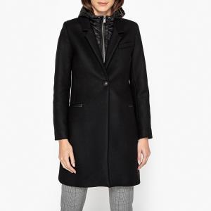 Пальто на подкладке с капюшоном из полушерстяной ткани IKKS. Цвет: черный