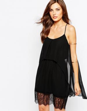 Платье-майка с кружевным низом BCBG Generation BCBGeneration. Цвет: черный