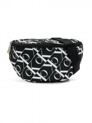Поясная сумка с монограммой Calvin Klein Kids. Цвет: черный