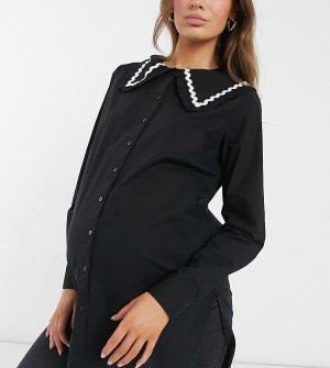 Черная удлиненная рубашка с крупным воротником -Черный цвет Pieces Maternity
