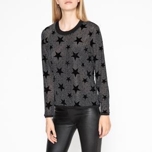 Пуловер с круглым вырезом из тонкого трикотажа PIERRE BERENICE. Цвет: серый