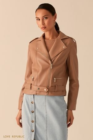 Бежевая куртка-косуха из экокожи с ремнем на заклепках LOVE REPUBLIC