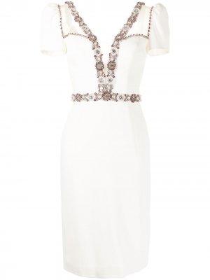 Платье-футляр Panache длины миди Jenny Packham. Цвет: белый