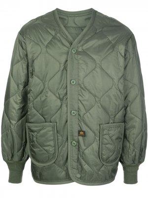Стеганая куртка Alpha Industries. Цвет: зеленый