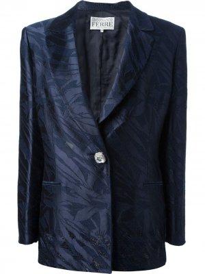Блестящий костюм с юбкой Gianfranco Ferré Pre-Owned. Цвет: синий