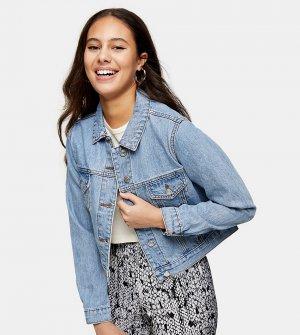 Укороченная джинсовая куртка выбеленного синего цвета -Многоцветный Topshop Petite