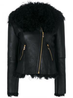 Байкерская куртка с отделкой овчиной Versace Collection. Цвет: чёрный