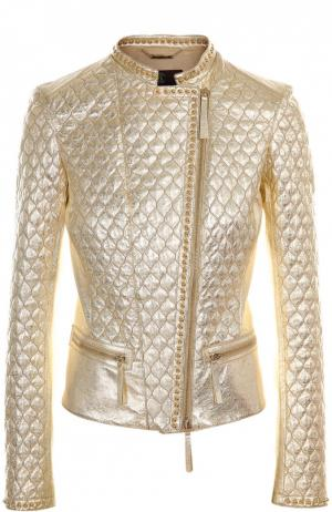 Кожаная куртка Roberto Cavalli. Цвет: золотой