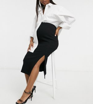 Черная юбка в рубчик -Черный Topshop Maternity