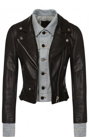Приталенная кожаная куртка с джинсовой вставкой Alexander Wang. Цвет: черный