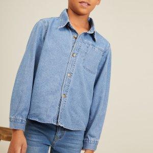 Для мальчиков Джинсовая рубашка заплатка карманом SHEIN. Цвет: синий цвет средней стирки