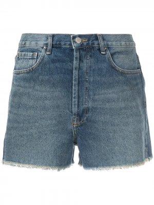 Джинсовые шорты с бахромой Eva. Цвет: синий