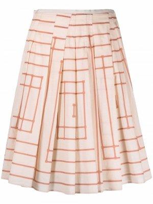 Плиссированная юбка в полоску Alysi. Цвет: нейтральные цвета